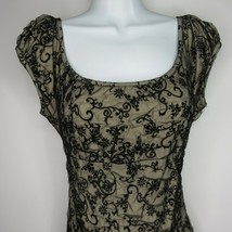 Vintage Betsey Johnson Black Illusion Lace Stretch Dress 8 Ruched Cap Sleeves - $59.36