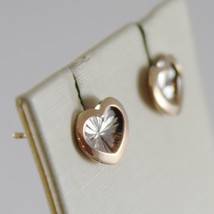 18K WHITE PINK GOLD HEART EARRINGS FINELY WORKED, DOUBLE RAYS STAR MADE IN ITALY image 2
