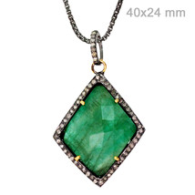 Emerald Gemstone Square Pendant Sterling Silver Diamond Studded 14k Gold... - $325.85