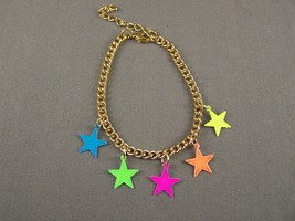 "Gold tone star bright neon colors charm bracelet 7-9"" long adjustable - $6.92"