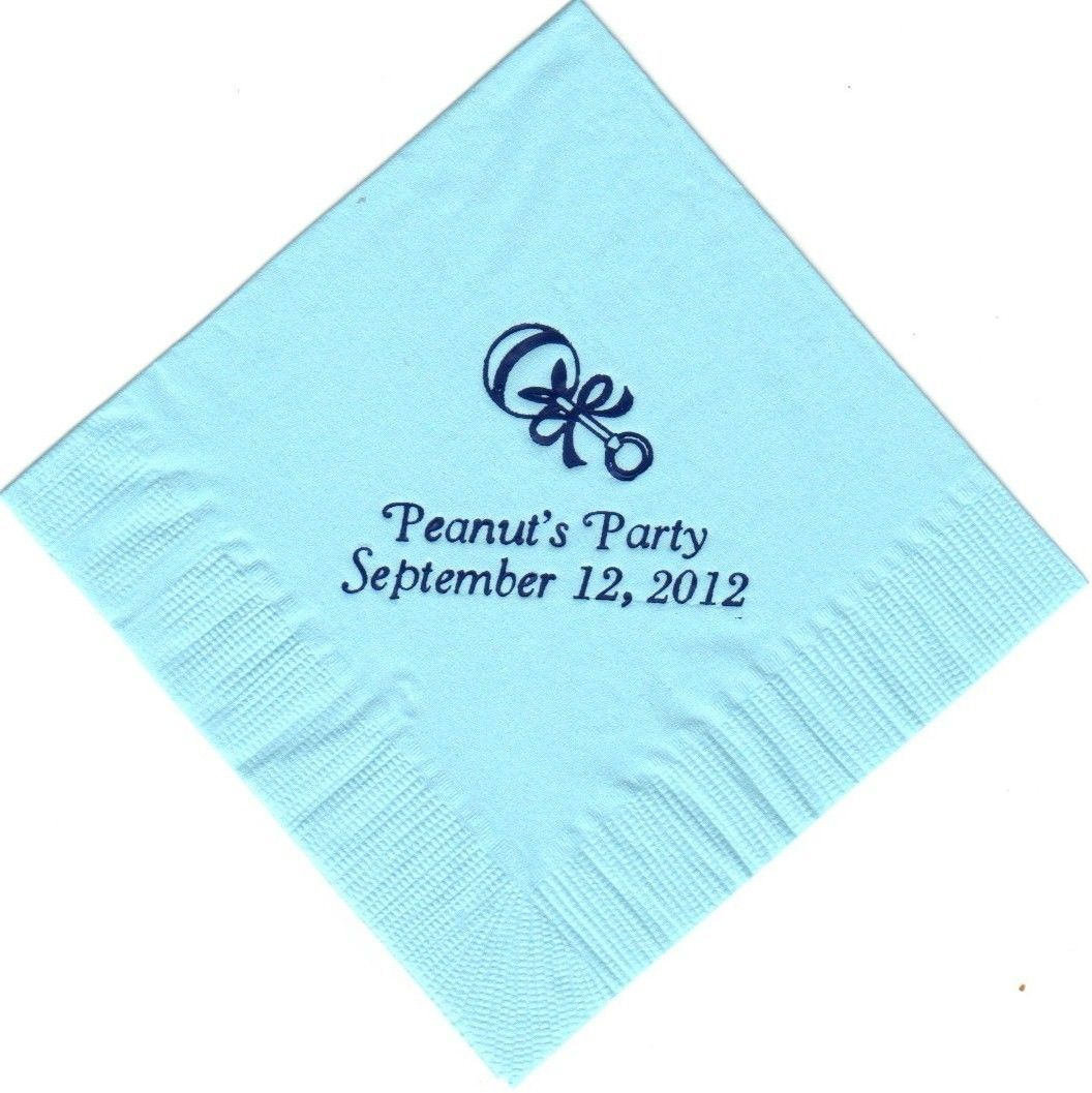 BABY RATTLE LOGO 50 Personalized printed cocktail beverage napkins