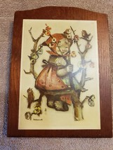 Wood Wall Art Plaque German Hummel Paper On Wood Girl in Tree with Birds - $14.84