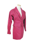 Vtg 80s Women's Skirt Jacket S/M New Wave Punk Hot Pink Batwing Leather ... - £24.90 GBP