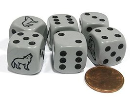 Set of 6 Wolf 16mm D6 Round Edge Koplow Animal Dice Gray with Black Pips