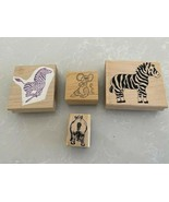 4 GREAT WOOD MOUNTED CRAFT ANIMAL STAMPS - $14.84
