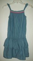 Children's Place Girls Dress Size 10 Chambray Denim Smock Neck Ruffle Ca... - $19.79