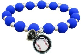 Custom Baseball Princess Silicone Stretch Bracelet Choose Number Team Co... - $14.24