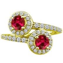 Round Halo cr Ruby & Diamond Forever Wedding Ladies Ring 14K YG 1.92 tcw - £529.47 GBP