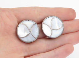 925 Sterling Silver - Vintage Mother Of Pearl Non Pierce Earrings - E9487 - $31.92