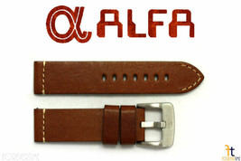 24mm Brown Smooth Leather Watch Band Fits Luminox Strap Anti-Allergic He... - $34.15