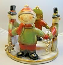 Yankee Candle J/H Snowmen & Kids Candle Holder Christmas Snowflake Ronni... - $29.69