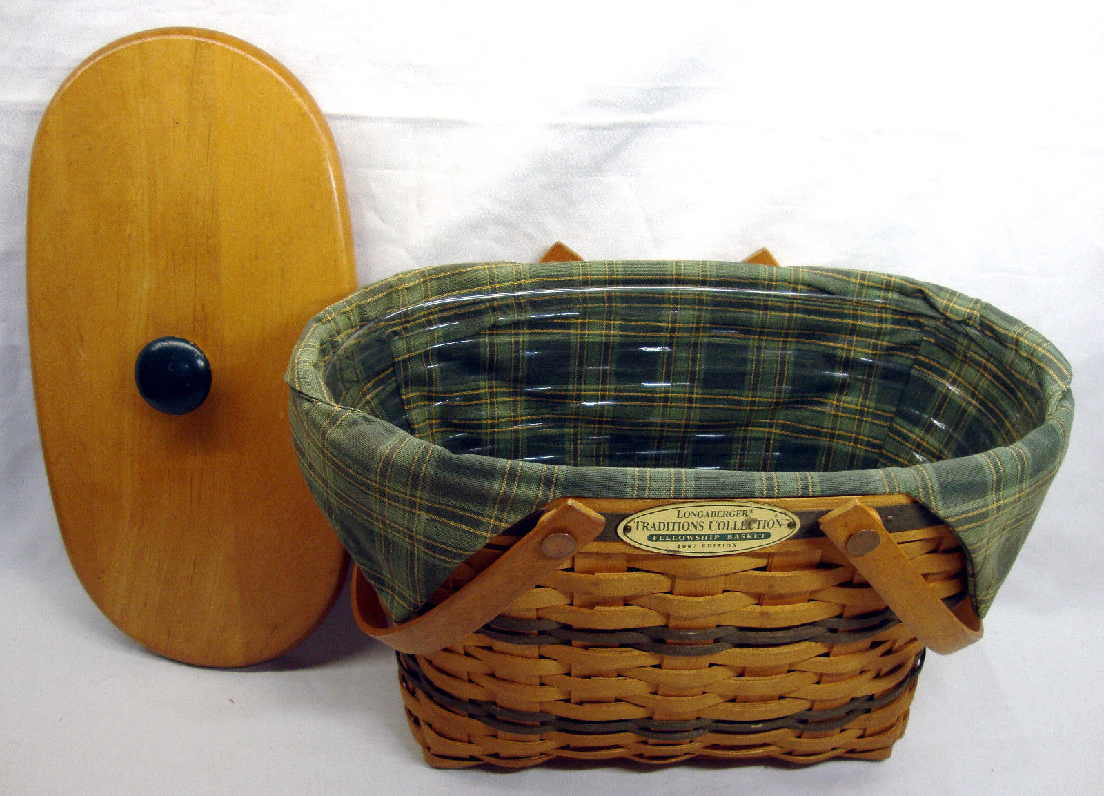 1997 Longaberger Fellowship Basket Traditions Collection  Liner, Protector, Lid
