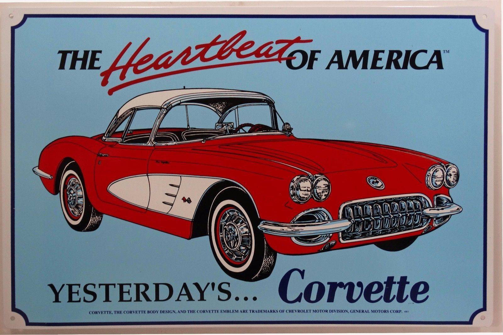 Corvette Heartbeat of America Red and White Classic Car Tin Sign