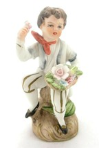 Porcelain Figurine Ucagco Boy with Flowers - $11.64