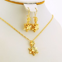 Jewelry sets ethiopian dubai wedding bride necklace pendant earrings gold color african thumb200