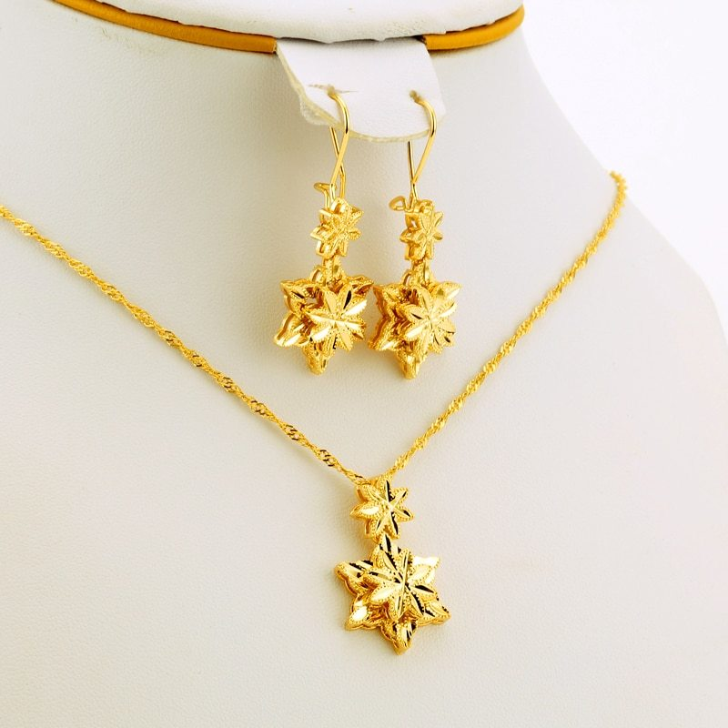 Five-pointed star Jewelry Sets Ethiopian Dubai Wedding Bride Necklace/Pendant/Ea
