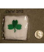White and Green Shamrock Sweat Band Wristband St. Patrick's Day Irish  - $2.50
