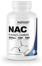 Nutricost N-Acetyl L-Cysteine NAC 600mg, 180 Capsules - Veggie Caps, Non-GMO, Gl