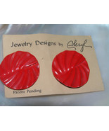 Estate Jewelry Designs by Cheryl Cherry Red Ridged Round Post Earrings - $6.97