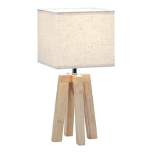 Table Lamps, Small Modern Geo Wooden For Bedroom Side Table Lamp - $37.49