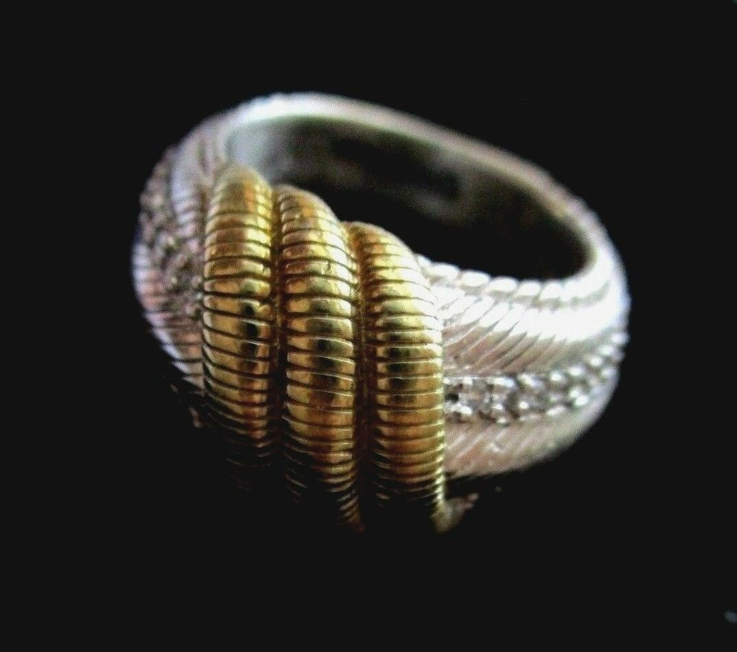 Primary image for JUDITH RIPKA Sterling 14K Gold Clad Diamonique Band Ring Sz 6 1/2 Gift Box New
