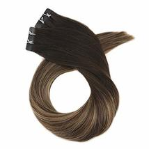 Moresoo 20 Inch Tape in Human Hair Extensions Glue on Hair Balayage Color Off Bl image 2