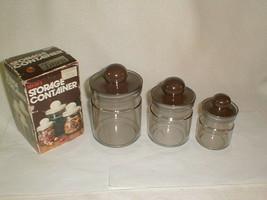 Canister set 1970s modern NIB 3 pc plastic brown lids tawn - $33.00