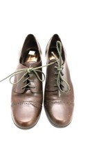 Etienne Aigner Nada Brown Leather Lace Up Cap Toe Heeled Oxford Pump 10 Dress - $62.23