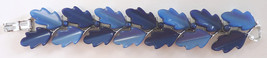 vintage Lisner blue lucite oak leaf bracelet 1950 thermoset marked 1960 - $35.00