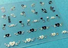 BANG STORE Nail Art 3D Decal Stickers Black & White Hearts Butterfly Stars CUTE - $3.68