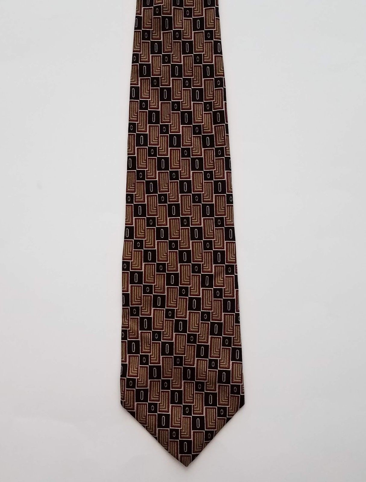 Primary image for Geoffrey Beene Classic 100% Silk Gold Black & Red Geometric Print Men's Neck Tie