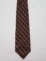 Geoffrey Beene Classic 100% Silk Gold Black & Red Geometric Print Men's Neck Tie - $18.37