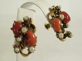Carnelian Stones Faux Pearl Free Form Earrings Screw Back Gold Plated Vi... - $19.79