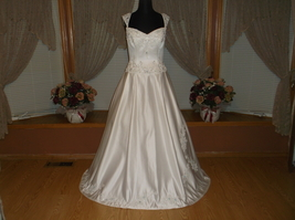 White Silver/Rhinestone Beaded Satin Wedding Gown - $300.00