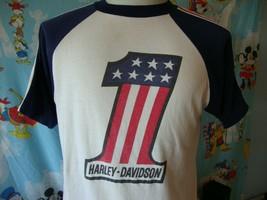 Vintage 70's Harley Davidson #1 American Flag T Shirt L  - $445.50