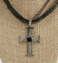 VIntage 925 Cross Pendant with Black Onyx 2 Inches Tall Handcrafted On Cord - $24.39