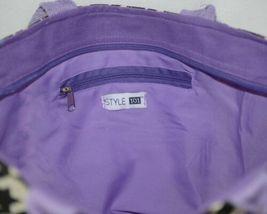 GANZ Brand ER39334 Style 101 Large Burlap Black Cream Purse Purple Handle image 4