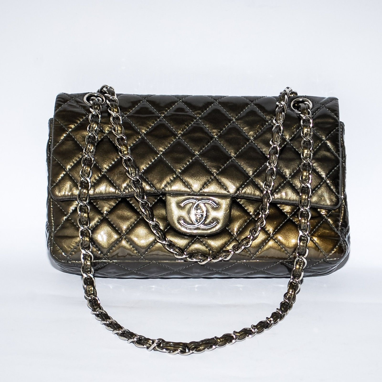 cc9eb1387de8 CHANEL 2.55 Khaki Double Flap Quilted Patent and 50 similar items