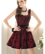 Vintage Inspired Brocade Burgundy Summer Roses Tea Dress. Summer Floral ... - $99.00