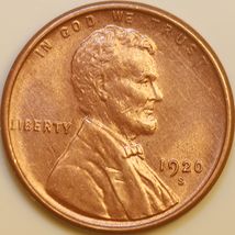 1920 S Lincoln Wheat Cent - Red Gem BU / MS RD / UNC - $450.00