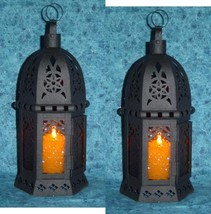Two (2) hanging amber glass moroccan metal candle holder patio table lan... - $20.00