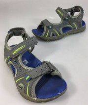 Merrell Youth 13 Panther Gray Leather Green Sports Sandals - $23.91