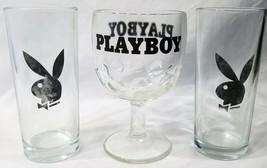 Playboy Bunny Logo Set of 2 Tall 14 oz Shot Glasses 1 Thumb Print Goblet... - $32.40