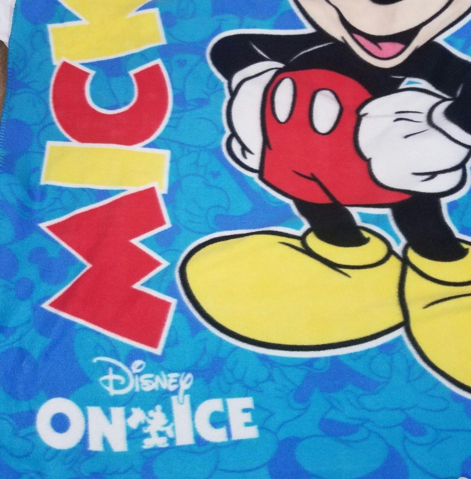 Disney On Ice Fleece Mickey Mouse Blanket Blue 48x58