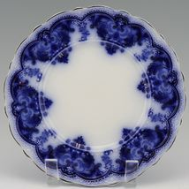 """Johnson Brothers Antique Flow Blue Georgia 8"""" Luncheon Plate a set of 3 image 6"""