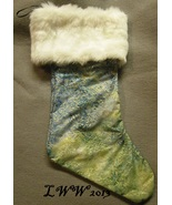 Handmade Green Blue Gold Tye-dyed Faux-Fur Holiday Christmas Stocking La... - $12.99
