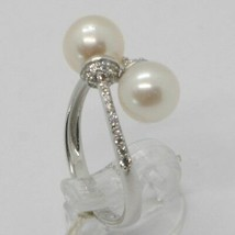 18K WHITE GOLD BAND PEARL ZIRCONIA RING DOUBLE CROSSED, contrariè, MADE IN ITALY image 2