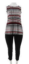 Women with Control Petite Ankle Pants Printed Tunic Set Black PL NEW A28... - $41.56