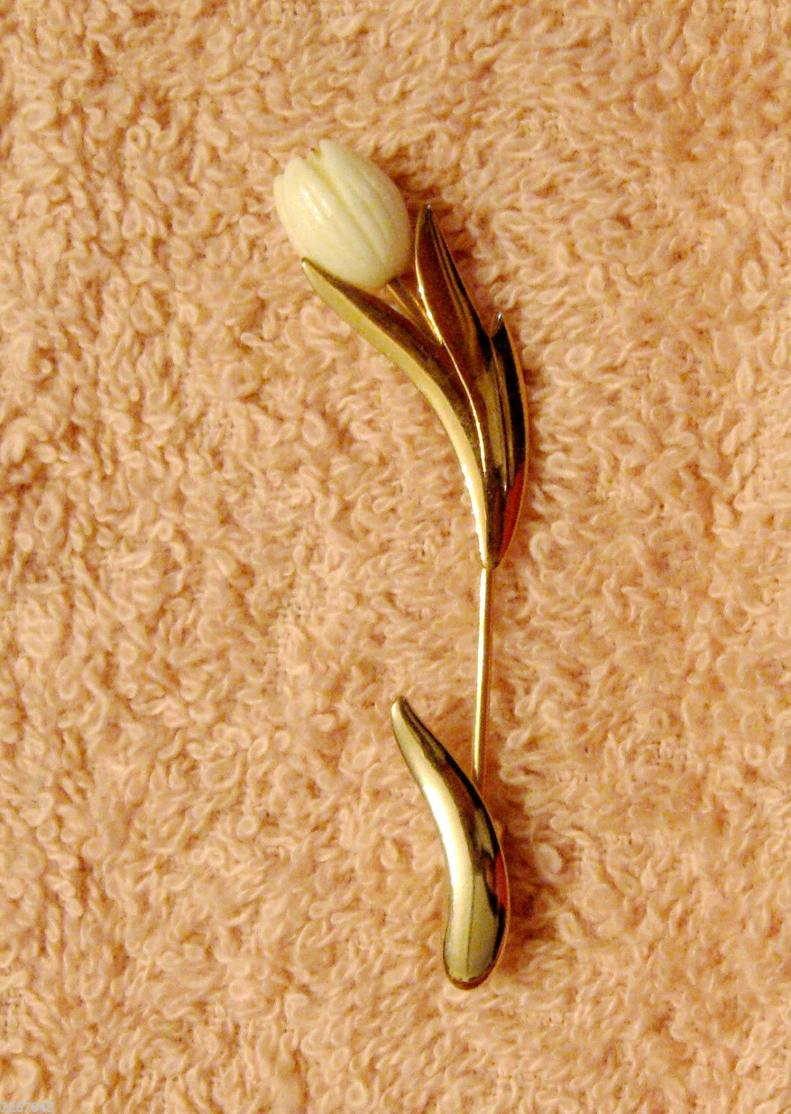 Primary image for Avon Graceful Tulip Stick Pin Gold Plated Lucite Lapel Brooch ✿ VTG 1980s