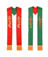 BLESSUME Pastor Vestments Reversible Stole with Fish Chalice Embroidery ... - $32.74